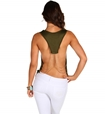Back of Olive and Gold Draped Shirt