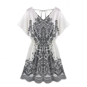 White Summer Dress with V back