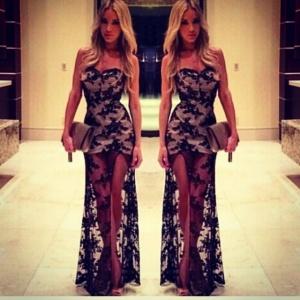 Black Lace Evening Wear