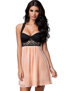 Sexy V Neck Sleeveless Patchwork Woman Short Dress    #08D242105LL